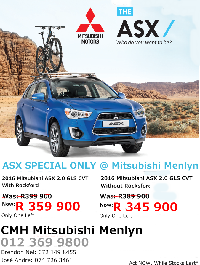 Asx Special At Cmh Mitsubishi Menlyn Call Us Today